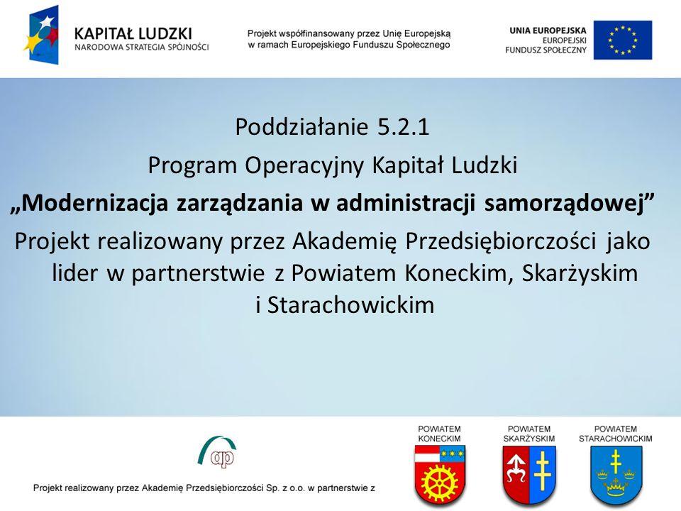 Poddziałanie 5.2.1 Program Operacyjny Kapitał Ludzki Modernizacja zarządzania w administracji samorządowej Projekt realizowany przez Akademię Przedsię