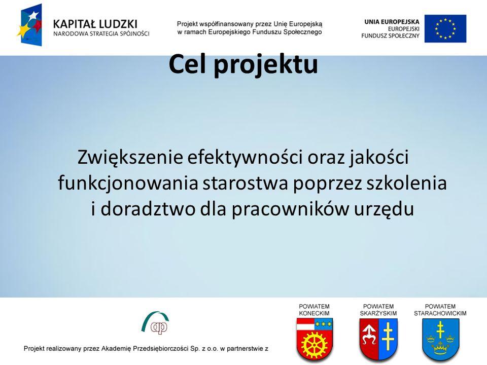 Cel projektu Zwiększenie efektywności oraz jakości funkcjonowania starostwa poprzez szkolenia i doradztwo dla pracowników urzędu