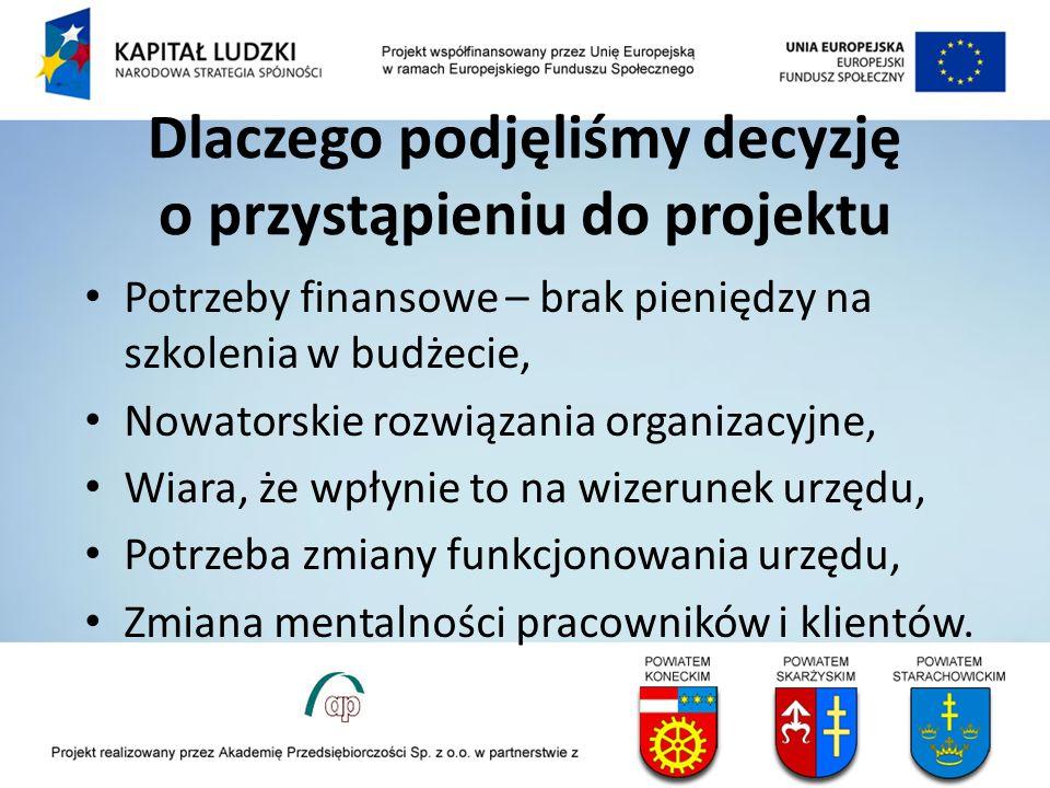Dlaczego podjęliśmy decyzję o przystąpieniu do projektu Potrzeby finansowe – brak pieniędzy na szkolenia w budżecie, Nowatorskie rozwiązania organizac
