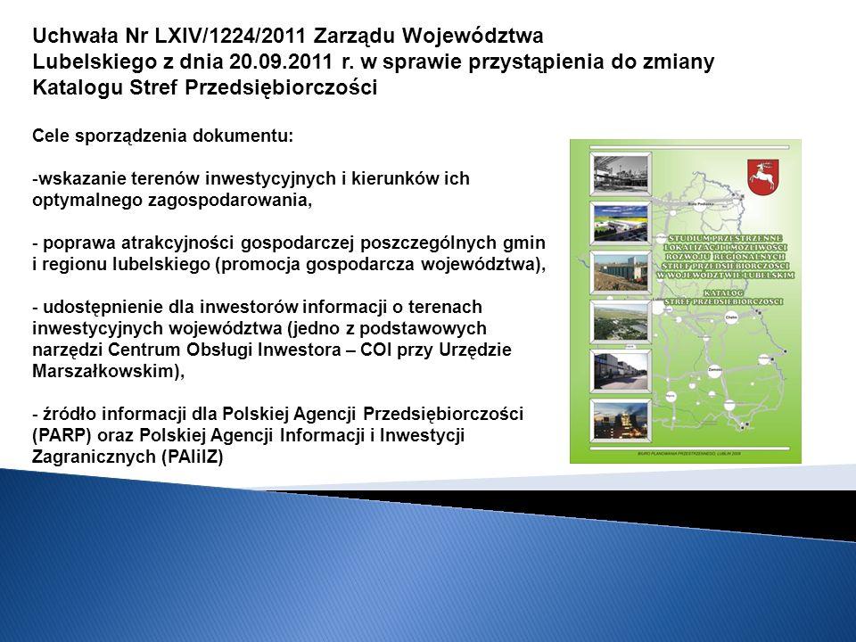 Uchwała Nr LXIV/1224/2011 Zarządu Województwa Lubelskiego z dnia 20.09.2011 r.