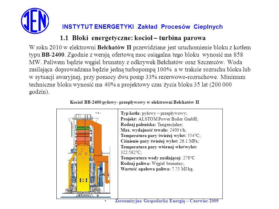 INSTYTUT ENERGETYKI Zakład Procesów Cieplnych Zeroemisyjna Gospodarka Energią – Czerwiec 2009 1.1 Bloki energetyczne: kocioł – turbina parowa W roku 2