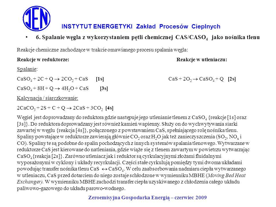 INSTYTUT ENERGETYKI Zakład Procesów Cieplnych 6. Spalanie węgla z wykorzystaniem pętli chemicznej CAS/CASO 4 jako nośnika tlenu Zeroemisyjna Gospodark