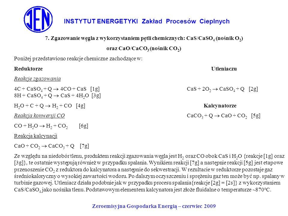 INSTYTUT ENERGETYKI Zakład Procesów Cieplnych Zeroemisyjna Gospodarka Energią – czerwiec 2009 7. Zgazowanie węgla z wykorzystaniem pętli chemicznych:
