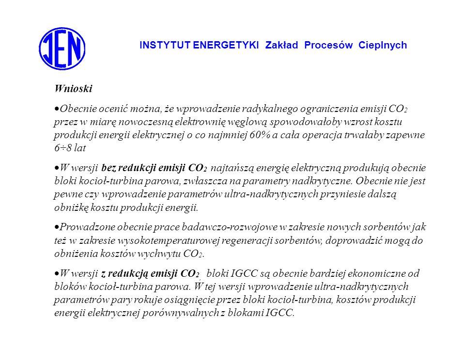 INSTYTUT ENERGETYKI Zakład Procesów Cieplnych Wnioski Obecnie ocenić można, że wprowadzenie radykalnego ograniczenia emisji CO 2 przez w miarę nowocze