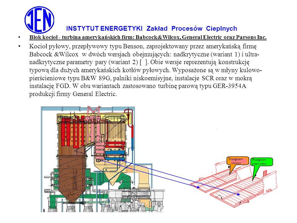 INSTYTUT ENERGETYKI Zakład Procesów Cieplnych Zeroemisyjna Gospodarka Energią – czerwiec 2009 Blok kocioł - turbina amerykańskich firm: Babcock&Wilcox