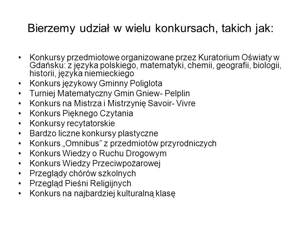 Bierzemy udział w wielu konkursach, takich jak: Konkursy przedmiotowe organizowane przez Kuratorium Oświaty w Gdańsku: z języka polskiego, matematyki, chemii, geografii, biologii, historii, języka niemieckiego Konkurs językowy Gminny Poliglota Turniej Matematyczny Gmin Gniew- Pelplin Konkurs na Mistrza i Mistrzynię Savoir- Vivre Konkurs Pięknego Czytania Konkursy recytatorskie Bardzo liczne konkursy plastyczne Konkurs Omnibus z przedmiotów przyrodniczych Konkurs Wiedzy o Ruchu Drogowym Konkurs Wiedzy Przeciwpożarowej Przeglądy chórów szkolnych Przegląd Pieśni Religijnych Konkurs na najbardziej kulturalną klasę