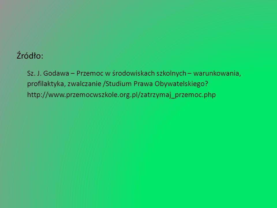 Źródło: Sz. J. Godawa – Przemoc w środowiskach szkolnych – warunkowania, profilaktyka, zwalczanie /Studium Prawa Obywatelskiego? http://www.przemocwsz