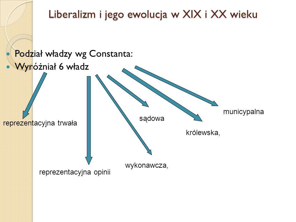 Podział władzy wg Constanta: Wyróżniał 6 władz reprezentacyjna trwała reprezentacyjna opinii wykonawcza, sądowa królewska, municypalna Liberalizm i je