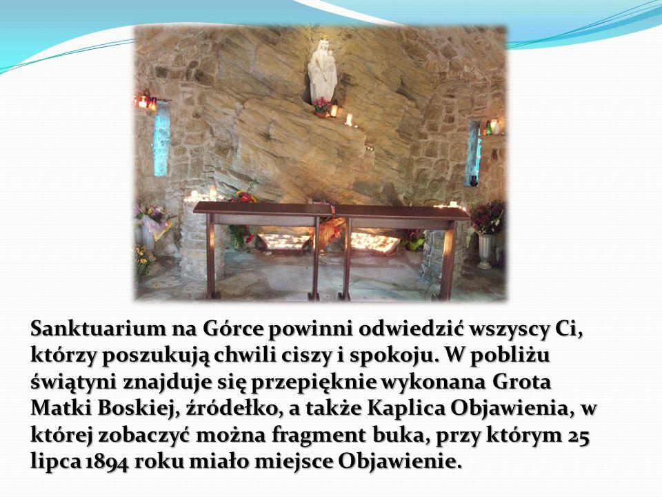 Sanktuarium na Górce powinni odwiedzić wszyscy Ci, którzy poszukują chwili ciszy i spokoju. W pobliżu świątyni znajduje się przepięknie wykonana Grota