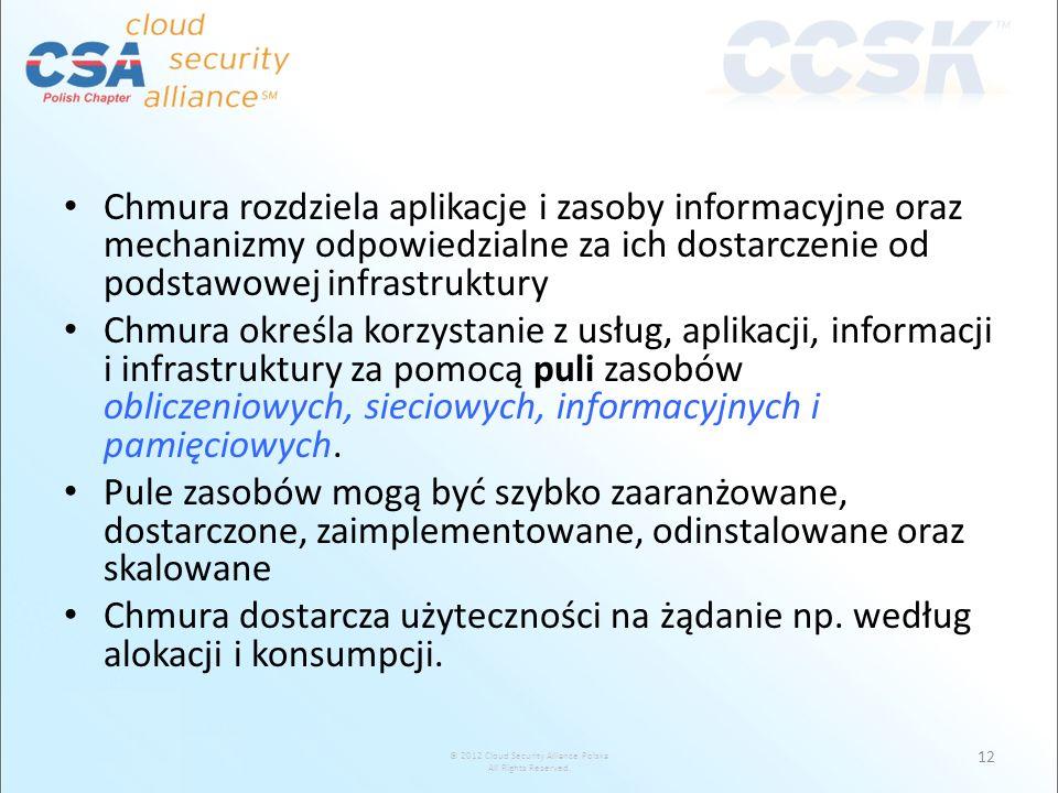 © 2012 Cloud Security Alliance Polska All Rights Reserved. Chmura rozdziela aplikacje i zasoby informacyjne oraz mechanizmy odpowiedzialne za ich dost