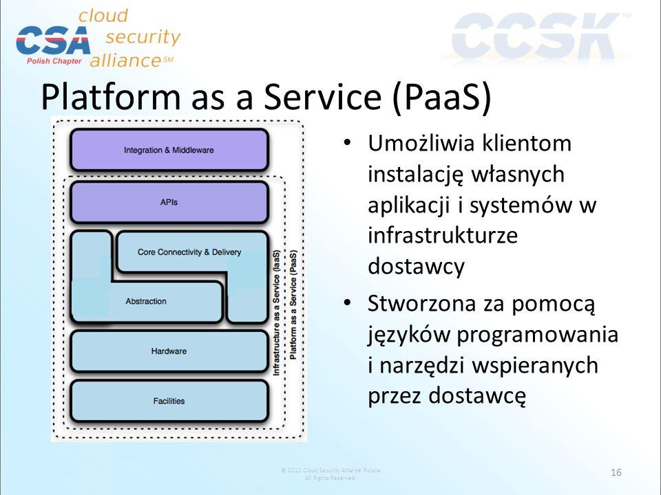 © 2012 Cloud Security Alliance Polska All Rights Reserved. Platform as a Service (PaaS) Umożliwia klientom instalację własnych aplikacji i systemów w