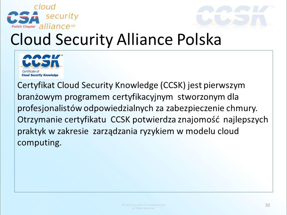 © 2012 Cloud Security Alliance Polska All Rights Reserved. Cloud Security Alliance Polska Certyfikat Cloud Security Knowledge (CCSK) jest pierwszym br