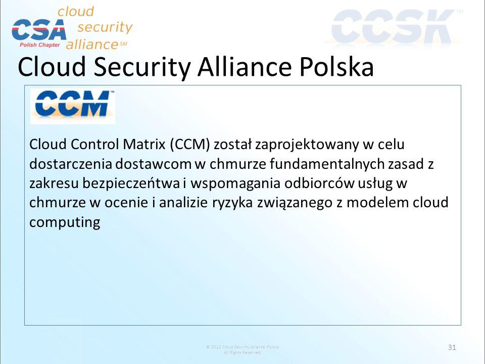 © 2012 Cloud Security Alliance Polska All Rights Reserved. Cloud Security Alliance Polska Cloud Control Matrix (CCM) został zaprojektowany w celu dost