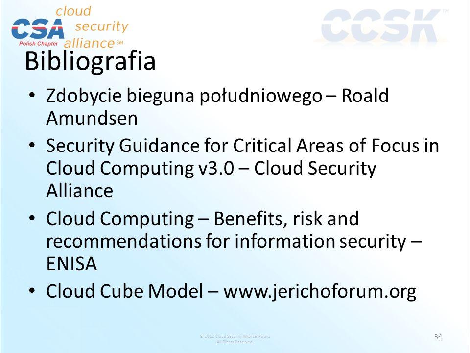 © 2012 Cloud Security Alliance Polska All Rights Reserved. Bibliografia Zdobycie bieguna południowego – Roald Amundsen Security Guidance for Critical