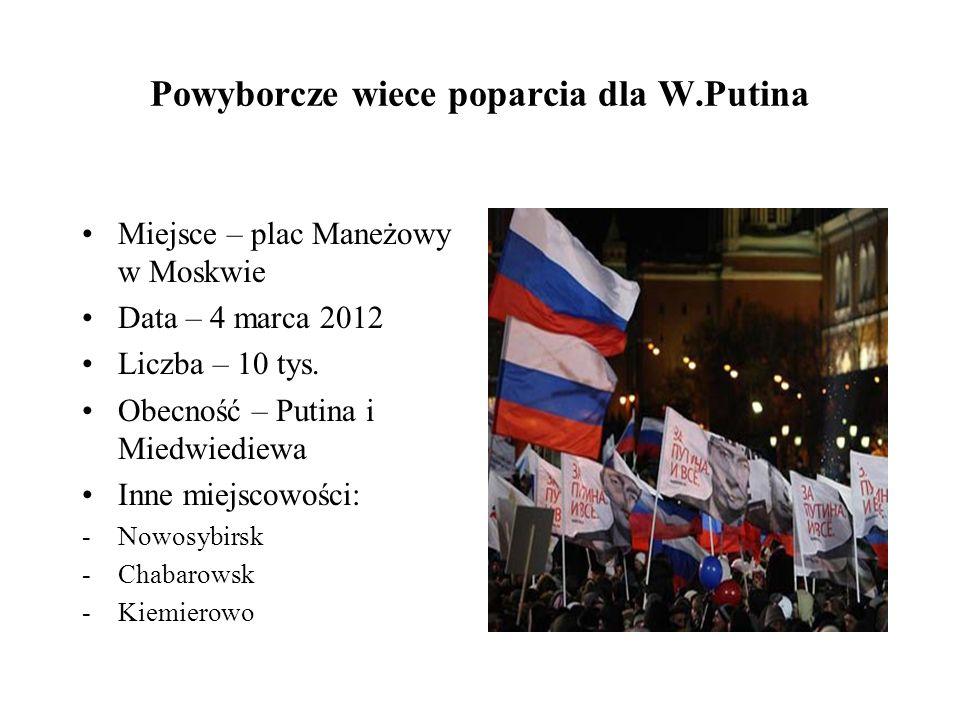 Powyborcze wiece poparcia dla W.Putina Miejsce – plac Maneżowy w Moskwie Data – 4 marca 2012 Liczba – 10 tys.
