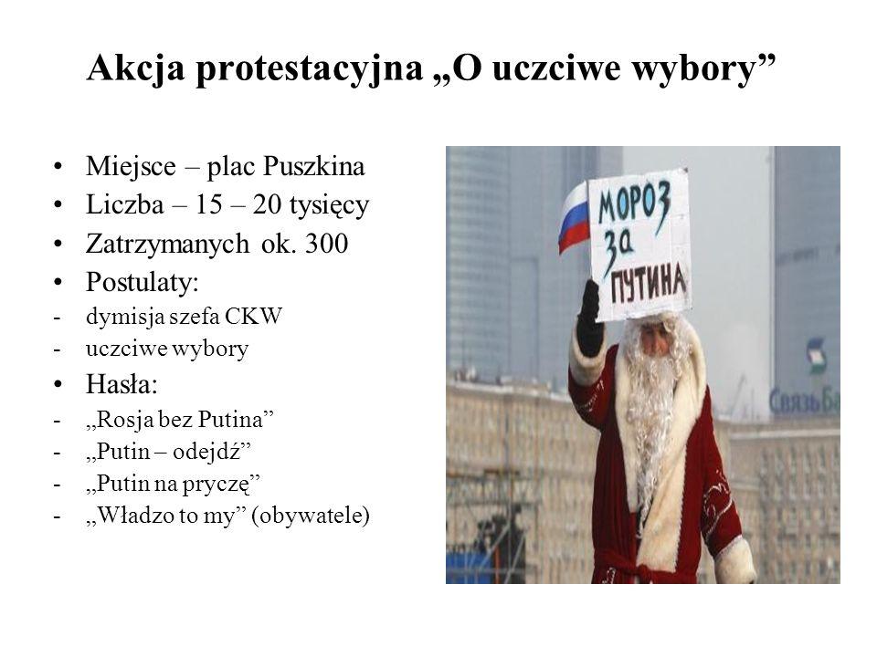 Akcja protestacyjna O uczciwe wybory Miejsce – plac Puszkina Liczba – 15 – 20 tysięcy Zatrzymanych ok.