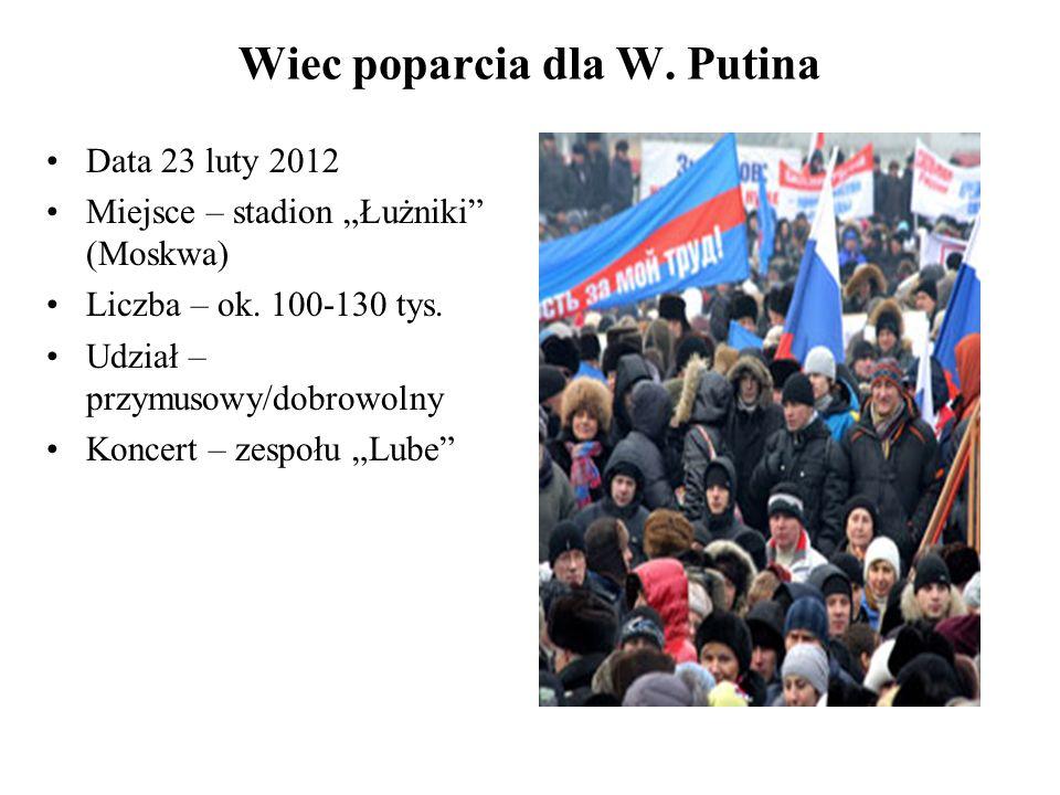 Wiec poparcia dla W. Putina Data 23 luty 2012 Miejsce – stadion Łużniki (Moskwa) Liczba – ok.