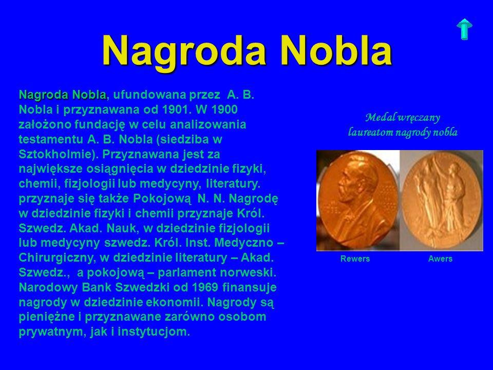 Nagroda Nobla Nagroda Nobla Nagroda Nobla, ufundowana przez A. B. Nobla i przyznawana od 1901. W 1900 założono fundację w celu analizowania testamentu