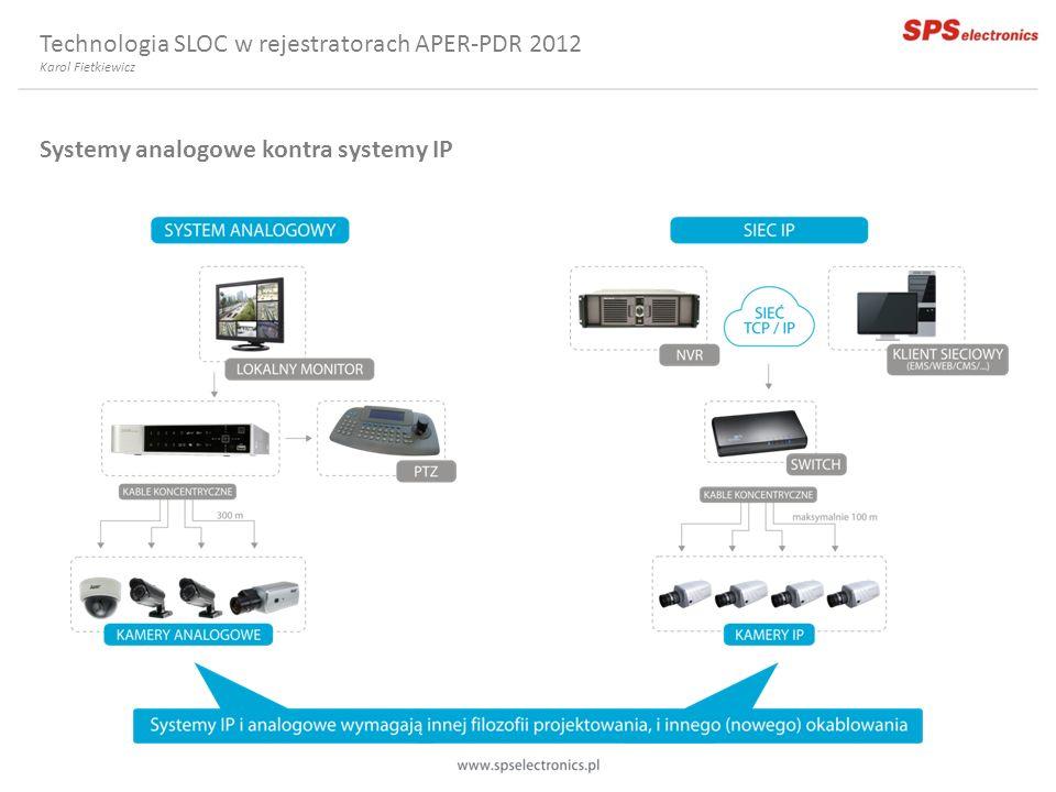 Technologia SLOC w rejestratorach APER-PDR 2012 Systemy analogowe kontra systemy IP Karol Fietkiewicz