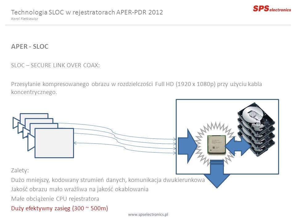 APER - SLOC SLOC – SECURE LINK OVER COAX: Przesyłanie kompresowanego obrazu w rozdzielczości Full HD (1920 x 1080p) przy użyciu kabla koncentrycznego.