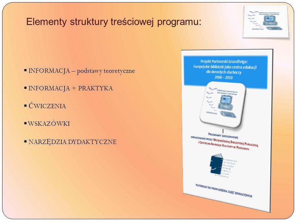 Elementy struktury treściowej programu: INFORMACJA – podstawy teoretyczne INFORMACJA + PRAKTYKA Ć WICZENIA WSKAZÓWKI NARZ Ę DZIA DYDAKTYCZNE