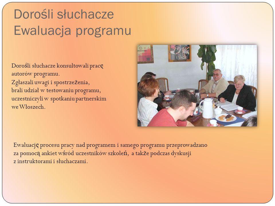 Dorośli słuchacze Ewaluacja programu Doro ś li słuchacze konsultowali prac ę autorów programu.