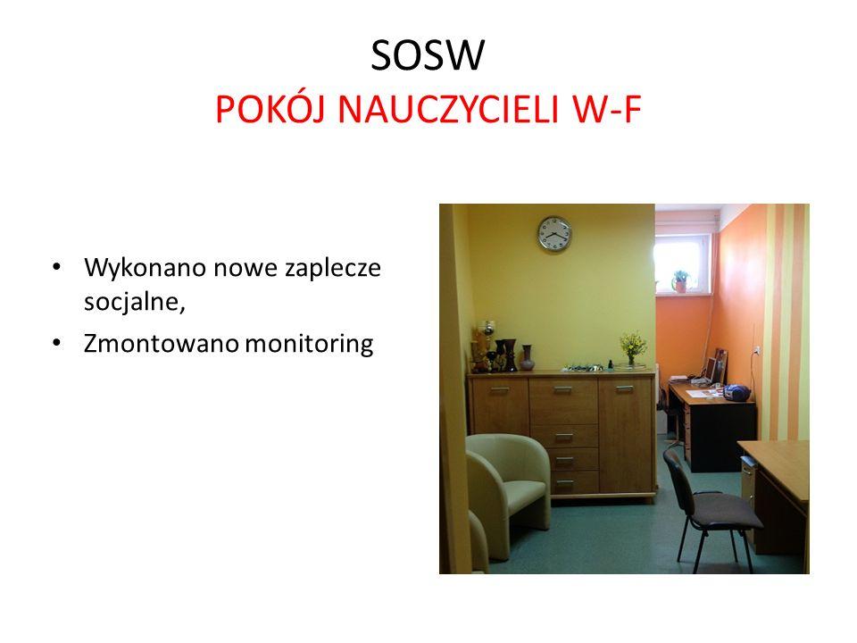 SOSW POKÓJ NAUCZYCIELI W-F Wykonano nowe zaplecze socjalne, Zmontowano monitoring