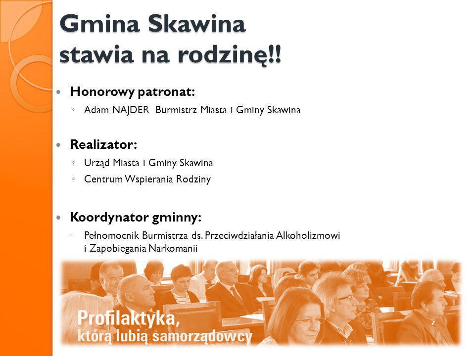 Gmina Skawina stawia na rodzinę!! Honorowy patronat: Adam NAJDER Burmistrz Miasta i Gminy Skawina Realizator: Urząd Miasta i Gminy Skawina Centrum Wsp