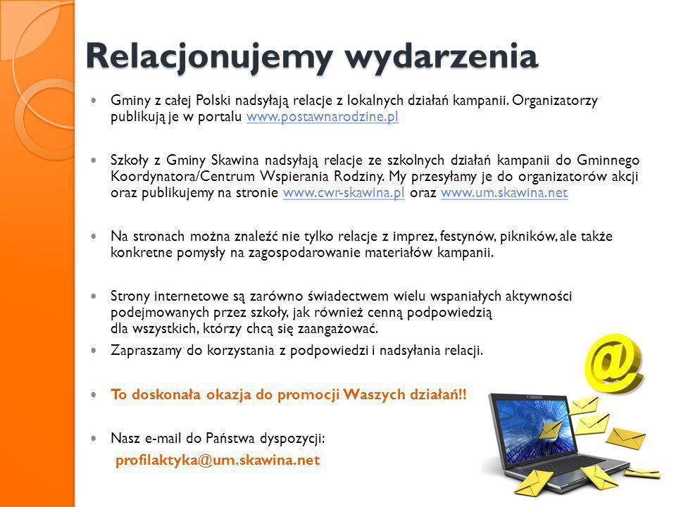 Relacjonujemy wydarzenia Relacjonujemy wydarzenia Gminy z całej Polski nadsyłają relacje z lokalnych działań kampanii. Organizatorzy publikują je w po