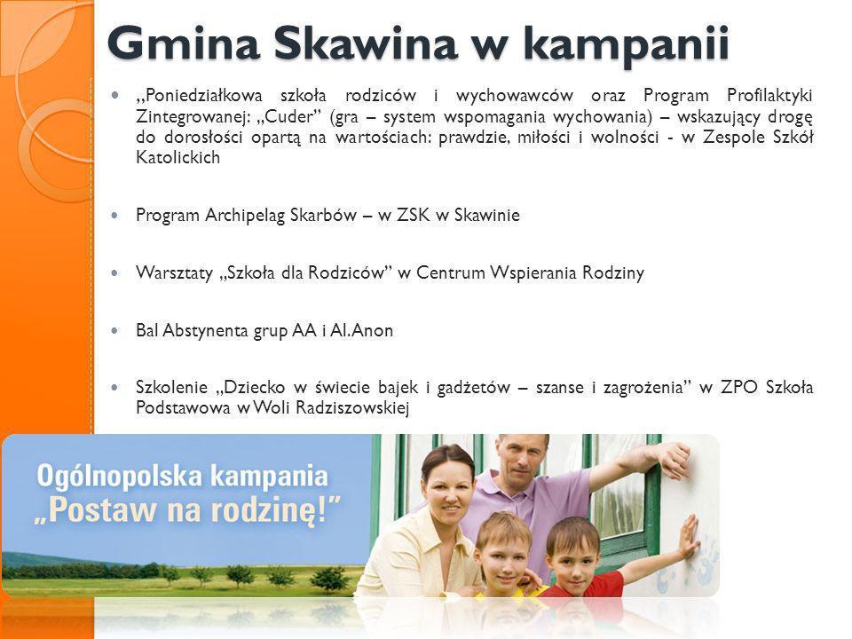 Gmina Skawina w kampanii Gmina Skawina w kampanii Poniedziałkowa szkoła rodziców i wychowawców oraz Program Profilaktyki Zintegrowanej: Cuder (gra – s