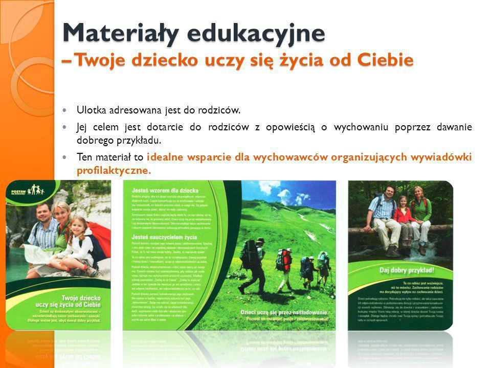 Materiały edukacyjne – Twoje dziecko uczy się życia od Ciebie Ulotka adresowana jest do rodziców. Jej celem jest dotarcie do rodziców z opowieścią o w