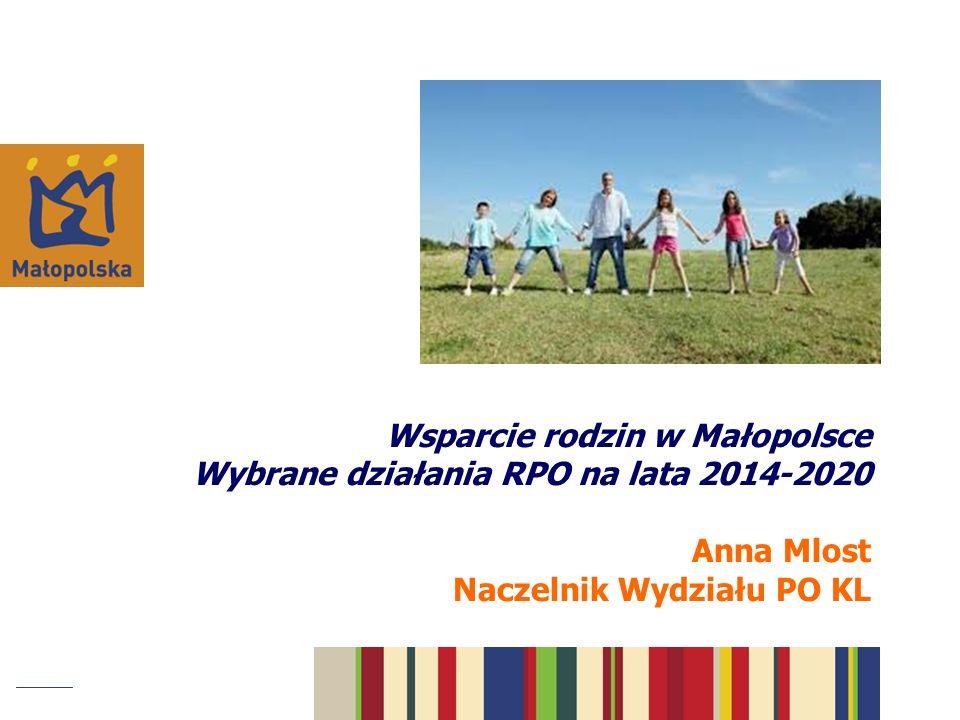 Wsparcie rodzin w Małopolsce Wybrane działania RPO na lata 2014-2020 Anna Mlost Naczelnik Wydziału PO KL