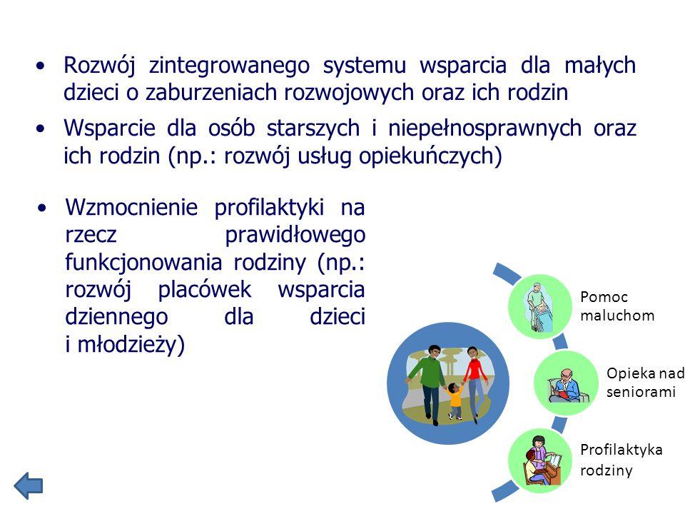 Rozwój zintegrowanego systemu wsparcia dla małych dzieci o zaburzeniach rozwojowych oraz ich rodzin Wsparcie dla osób starszych i niepełnosprawnych or