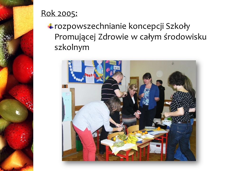 Rok 2005: rozpowszechnianie koncepcji Szkoły Promującej Zdrowie w całym środowisku szkolnym