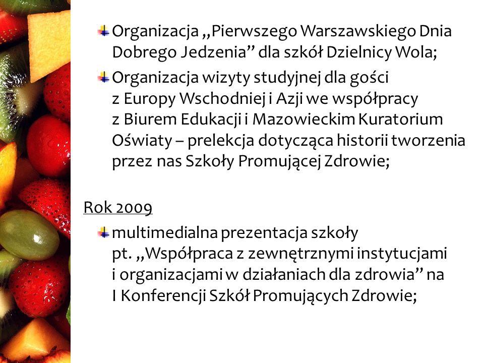 Rok 2011 multimedialna prezentacja szkoły na I Forum Zdrowia zorganizowanym przez Urząd Wojewódzki; Udział w Pikniku Zdrowe Mazowsze; Rok 2012 Udział w projekcie Szkoła z pomysłem – na zdrowy styl życia Wyróżnienie prezydenta m.st.