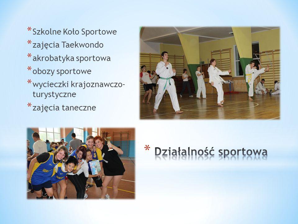 * Szkolne Koło Sportowe * zajęcia Taekwondo * akrobatyka sportowa * obozy sportowe * wycieczki krajoznawczo- turystyczne * zajęcia taneczne