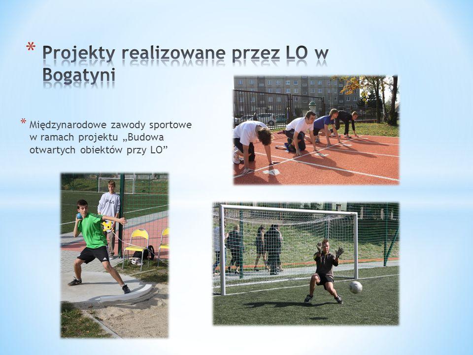 * Międzynarodowe zawody sportowe w ramach projektu Budowa otwartych obiektów przy LO