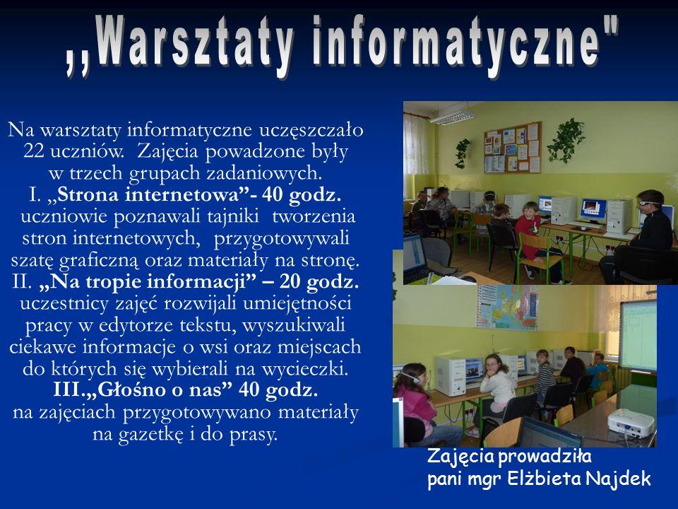 Na warsztaty informatyczne uczęszczało 22 uczniów. Zajęcia powadzone były w trzech grupach zadaniowych. I. Strona internetowa- 40 godz. uczniowie pozn