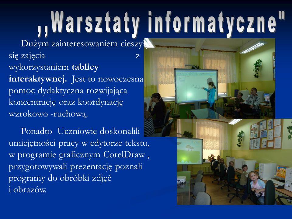 Dużym zainteresowaniem cieszyły się zajęcia z wykorzystaniem tablicy interaktywnej.