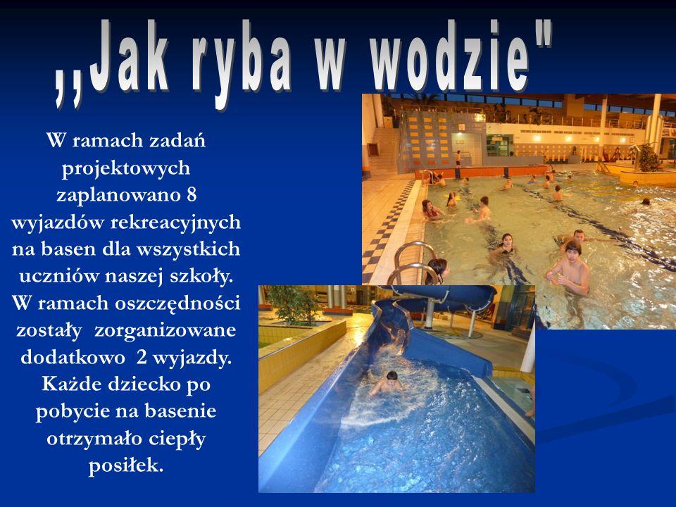 W ramach zadań projektowych zaplanowano 8 wyjazdów rekreacyjnych na basen dla wszystkich uczniów naszej szkoły. W ramach oszczędności zostały zorganiz