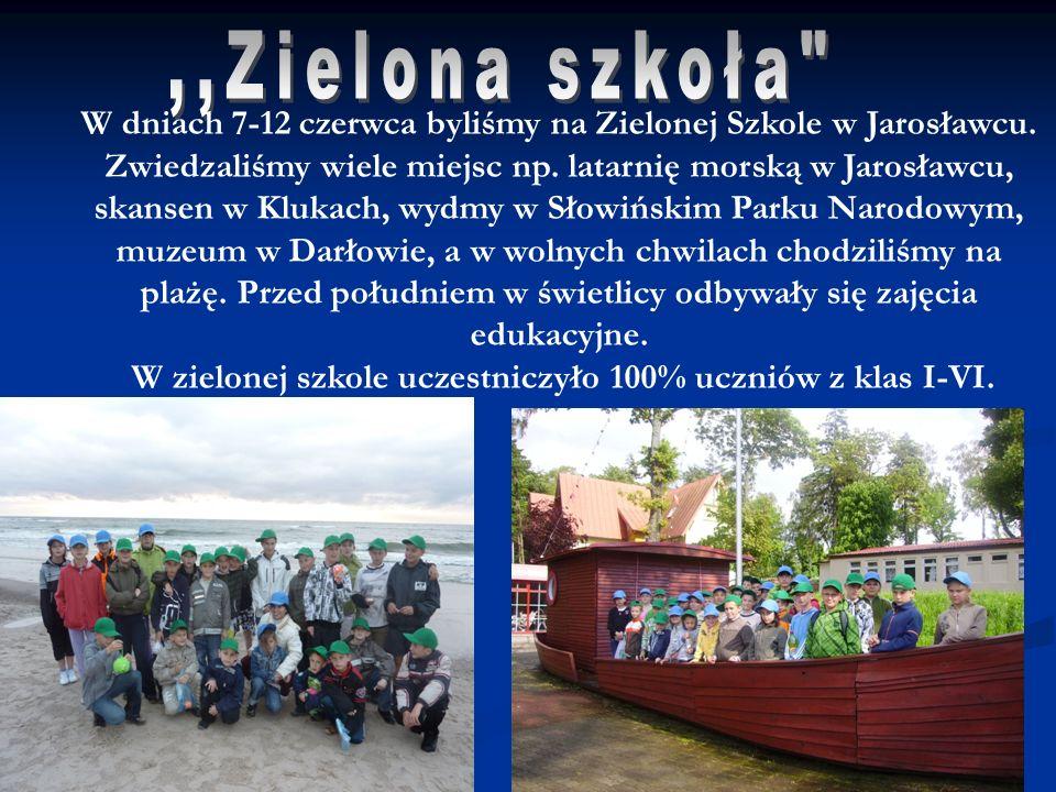 W dniach 7-12 czerwca byliśmy na Zielonej Szkole w Jarosławcu. Zwiedzaliśmy wiele miejsc np. latarnię morską w Jarosławcu, skansen w Klukach, wydmy w