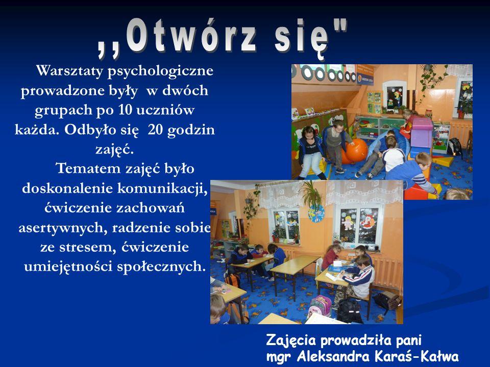 Warsztaty psychologiczne prowadzone były w dwóch grupach po 10 uczniów każda. Odbyło się 20 godzin zajęć. Tematem zajęć było doskonalenie komunikacji,