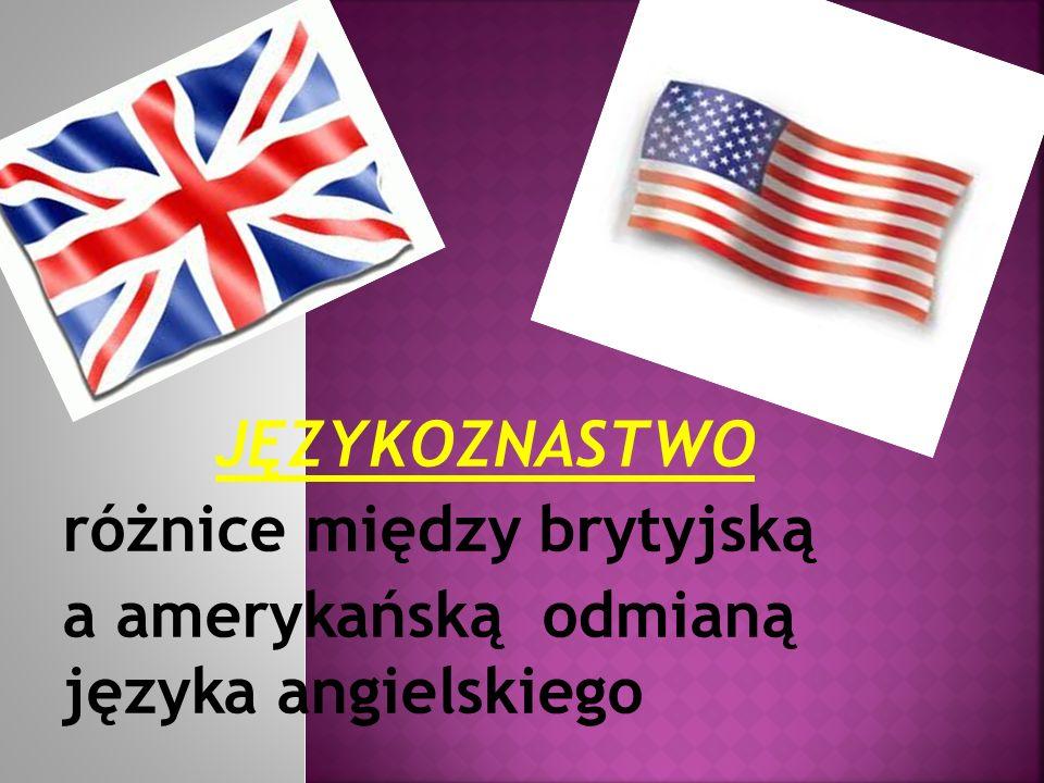 JĘZYKOZNASTWO różnice między brytyjską a amerykańską odmianą języka angielskiego