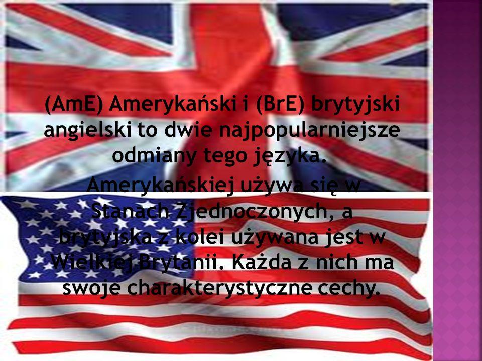 (AmE) Amerykański i (BrE) brytyjski angielski to dwie najpopularniejsze odmiany tego języka. Amerykańskiej używa się w Stanach Zjednoczonych, a brytyj