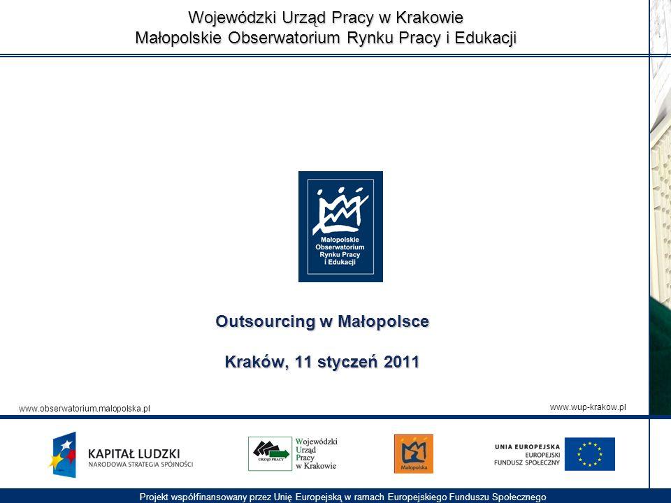 Wojewódzki Urząd Pracy w Krakowie Małopolskie Obserwatorium Rynku Pracy i Edukacji Projekt współfinansowany przez Unię Europejską w ramach Europejskie