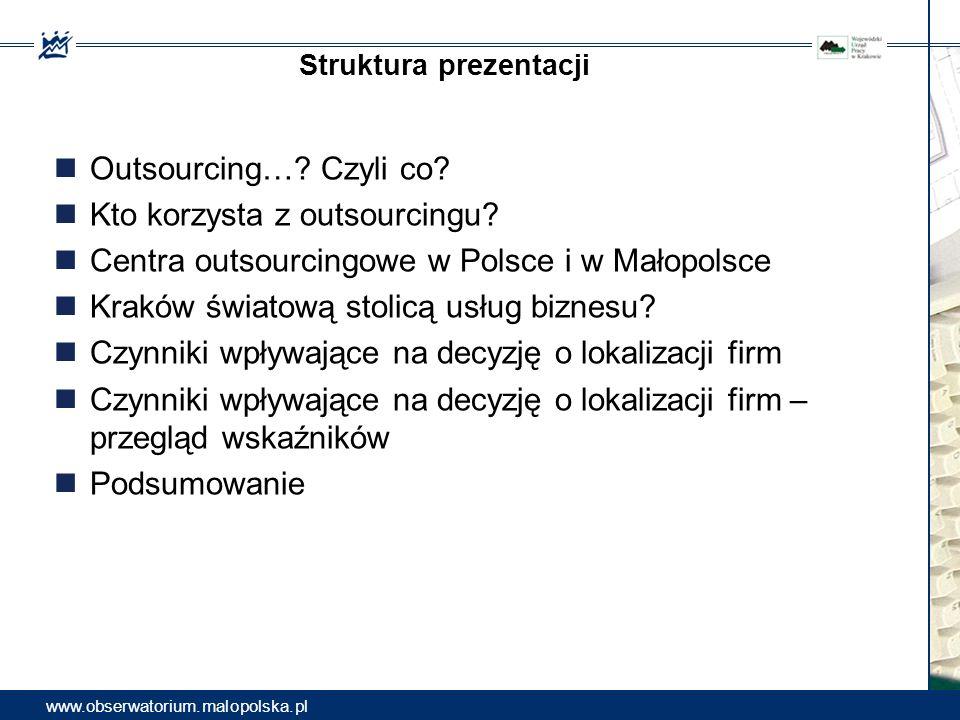 Struktura prezentacji Outsourcing…? Czyli co? Kto korzysta z outsourcingu? Centra outsourcingowe w Polsce i w Małopolsce Kraków światową stolicą usług
