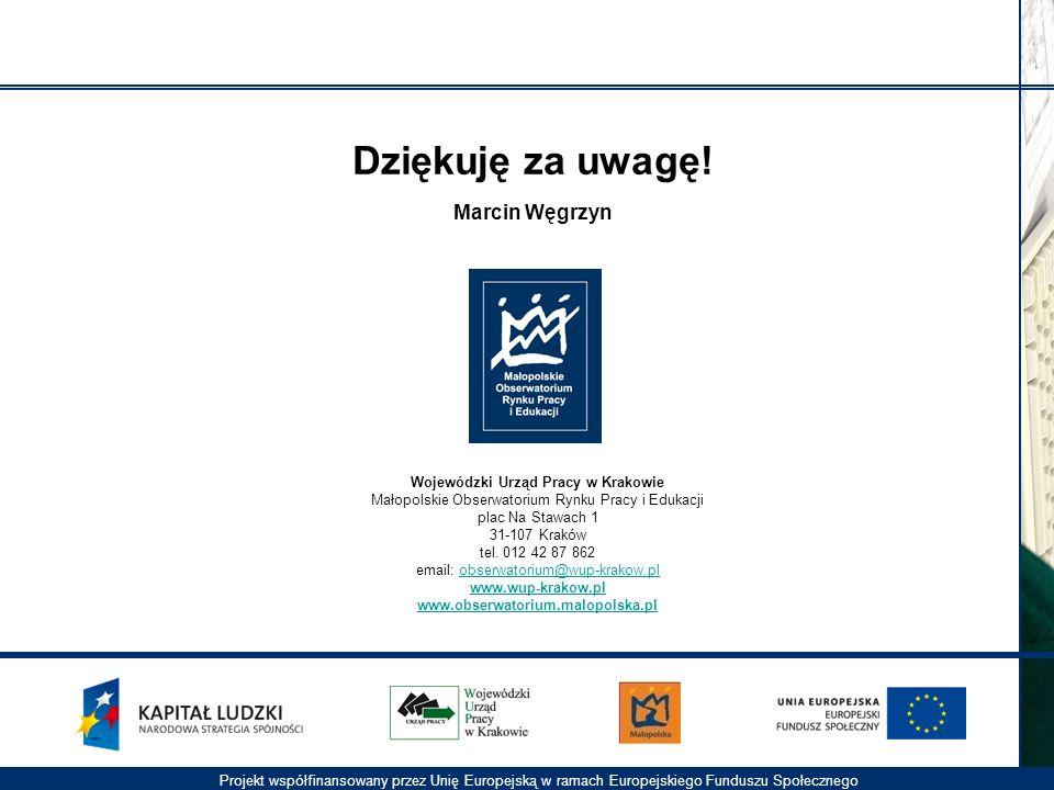 Projekt współfinansowany przez Unię Europejską w ramach Europejskiego Funduszu Społecznego Wojewódzki Urząd Pracy w Krakowie Małopolskie Obserwatorium