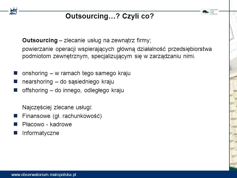 Outsourcing…? Czyli co? Outsourcing – zlecanie usług na zewnątrz firmy; powierzanie operacji wspierających główną działalność przedsiębiorstwa podmiot