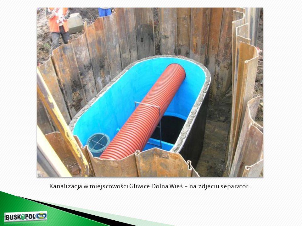 Kanalizacja w miejscowości Gliwice Dolna Wieś - na zdjęciu separator.