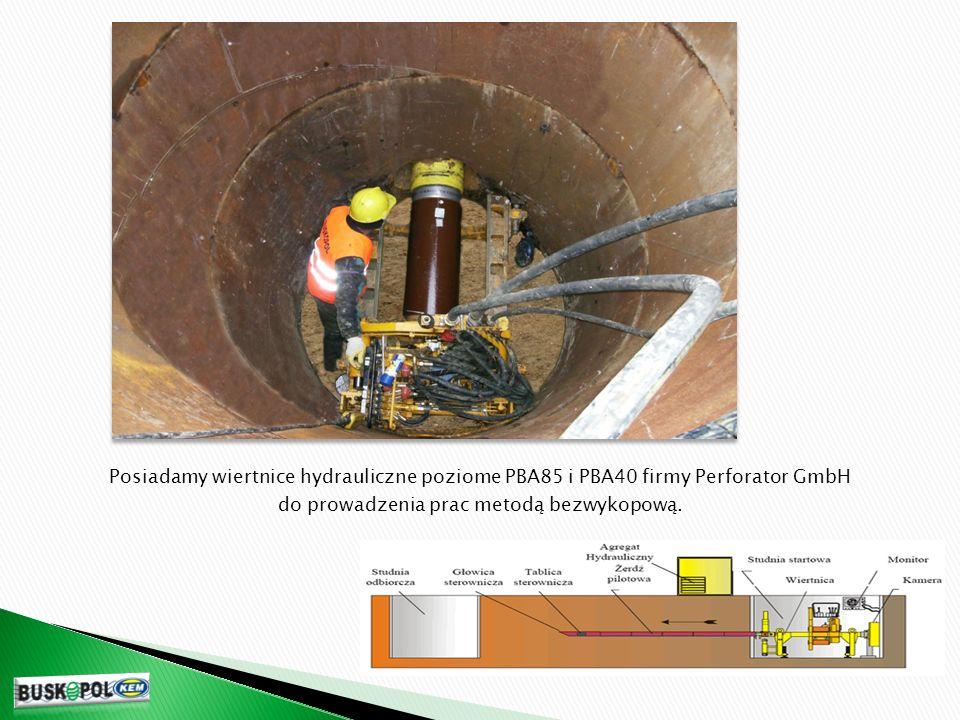 Posiadamy wiertnice hydrauliczne poziome PBA85 i PBA40 firmy Perforator GmbH do prowadzenia prac metodą bezwykopową.
